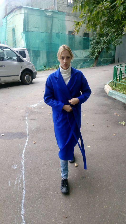Верхняя одежда ручной работы. Ярмарка Мастеров - ручная работа. Купить Осеннее пальто синего цвета.. Handmade. Сшить пальто