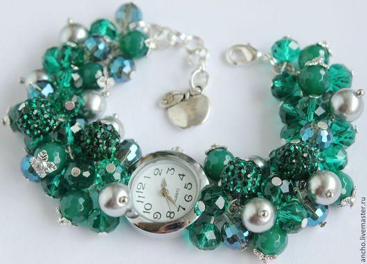 """Часы ручной работы. Ярмарка Мастеров - ручная работа. Купить Часы """"Изумрудные"""". Handmade. Морская волна, часы, женские часы"""