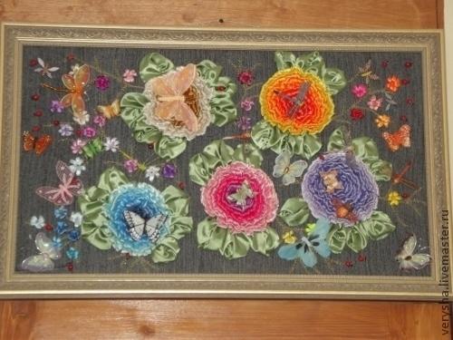 Фотография вышивки ручной работы с добавлением декоративных элементов