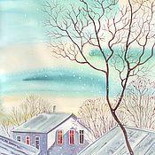 Картины и панно ручной работы. Ярмарка Мастеров - ручная работа Морозный день и столько солнца. Акварель. Handmade.