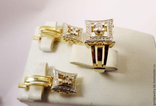 Комплекты украшений ручной работы. Ярмарка Мастеров - ручная работа. Купить Комплект Золотое бриллиантовое кольцо серьги 585 пробы. Handmade.