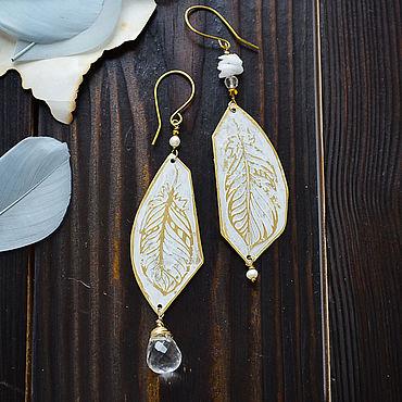 Decorations handmade. Livemaster - original item Boho feather earrings Brass asymmetric Rhinestone drop earrings. Handmade.