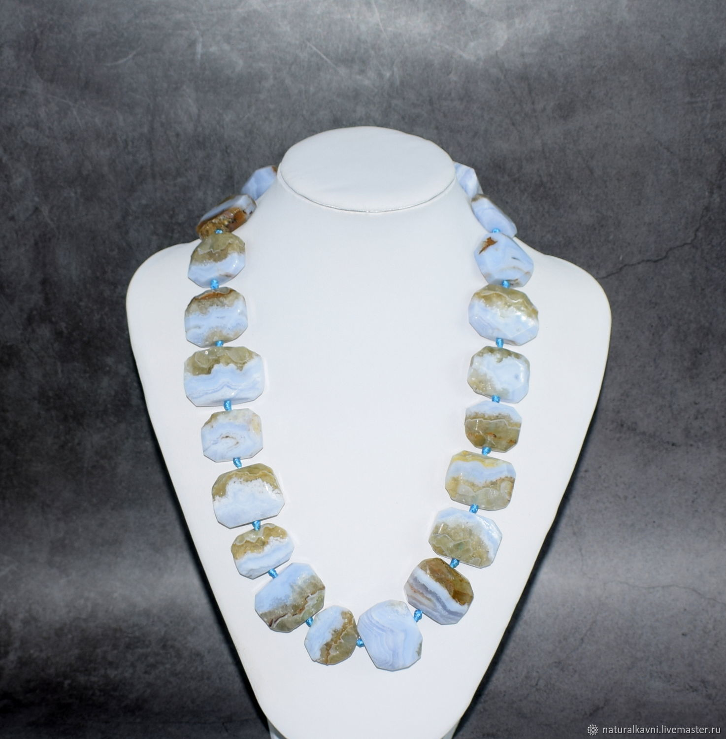 Large beads natural blue agate / sapphirine, Beads2, Moscow,  Фото №1