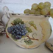 """Для дома и интерьера ручной работы. Ярмарка Мастеров - ручная работа горшочек """" пора есть виноград"""". Handmade."""
