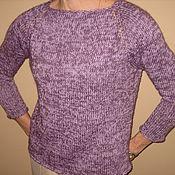 Одежда ручной работы. Ярмарка Мастеров - ручная работа пуловер сиреневый  меланж. Handmade.