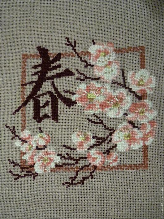 """Картины цветов ручной работы. Ярмарка Мастеров - ручная работа. Купить Готовая вышивка крестом """"Сакура"""". Handmade. Разноцветный, сакура"""