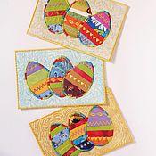 Открытки ручной работы. Ярмарка Мастеров - ручная работа текстильная открытка. Handmade.