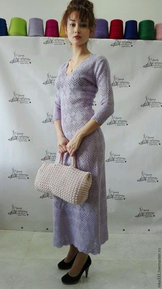 Платья ручной работы. Ярмарка Мастеров - ручная работа. Купить Платье ажурное-лаванда. Handmade. Платье нарядное, однотонный