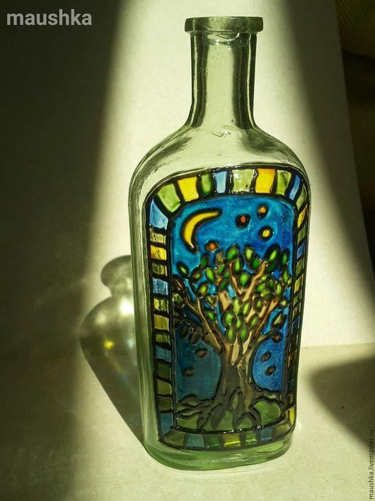 """Вазы ручной работы. Ярмарка Мастеров - ручная работа. Купить Бутылочка """"Волшебное дерево"""". Handmade. Комбинированный, стекло, ручная работа"""