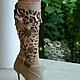 Обувь ручной работы. Ярмарка Мастеров - ручная работа. Купить Сапоги из мешковины, кожа Пони, 9см. каблук, 38, 39 размер. Handmade.