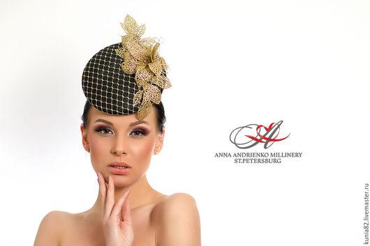 Свадебные и вечерние аксессуары ручной работы. Вечерняя шляпка `Мерибель`. Анна Андриенко. Ярмарка Мастеров.