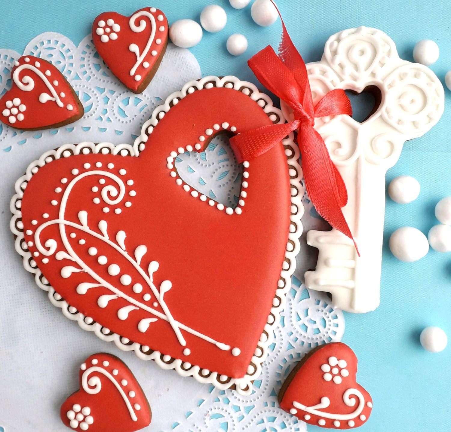 Cakes for Lovers. Set of gingerbread Heart with the Key, Gingerbread Cookies Set, Rostov-on-Don,  Фото №1