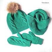 Шапка, шарф-снуд, варежки Изумрудный вязаный комплект