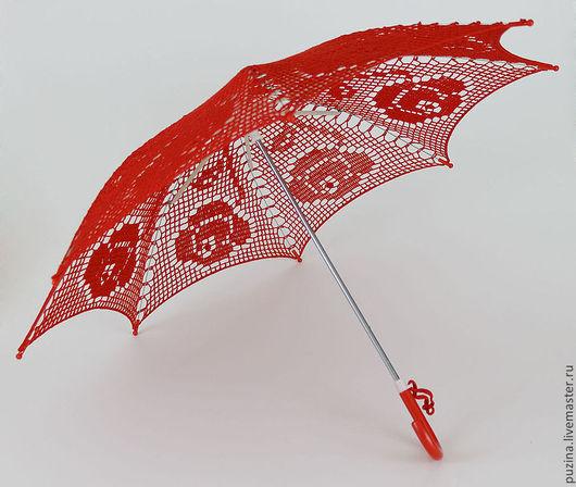 """Зонты ручной работы. Ярмарка Мастеров - ручная работа. Купить Зонт """"Розы"""". Handmade. Ярко-красный, аксессуары для свадьбы"""