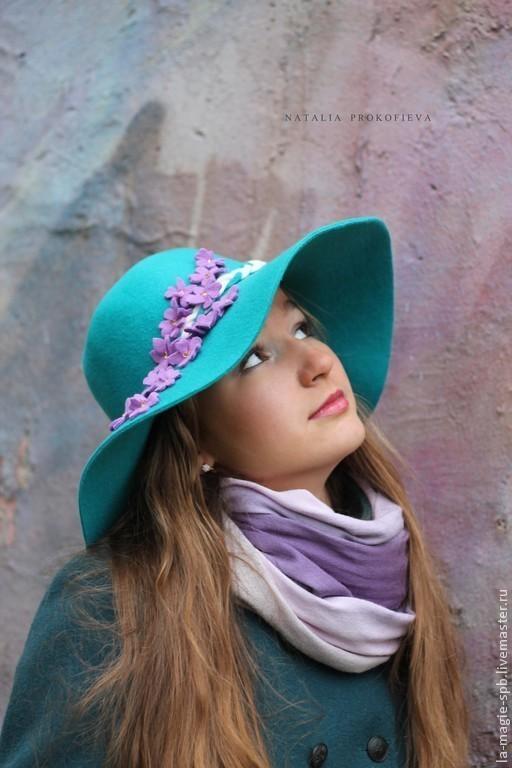 """Шляпы ручной работы. Ярмарка Мастеров - ручная работа. Купить Широкополая шляпа """"Violettes de Paris"""" (Парижские фиалки). Handmade."""
