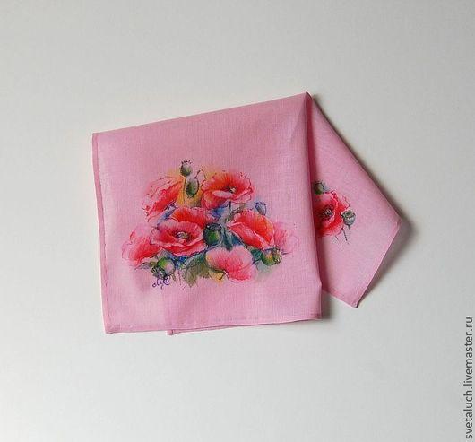 Носовые платочки ручной работы. Ярмарка Мастеров - ручная работа. Купить Краски лета. Handmade. Рисунок, маки, миниатюра