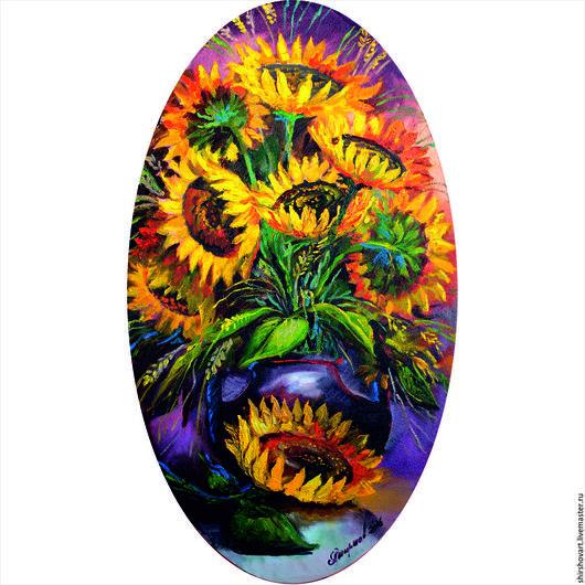 Картины цветов ручной работы. Ярмарка Мастеров - ручная работа. Купить Подсолнухи ( Овал) 70х40. Handmade. Желтый