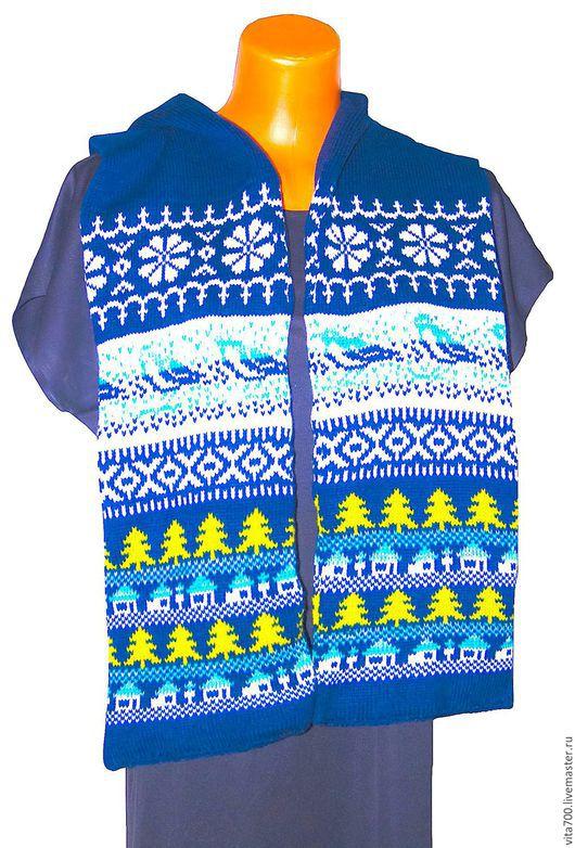 """Шарфы и шарфики ручной работы. Ярмарка Мастеров - ручная работа. Купить Шарф""""Зимние мотивы"""". Handmade. Тёмно-синий, шарф зимний"""