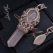 Украшения handmade. Livemaster - original item Pendant with rose quartz stone, with