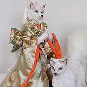 Куклы и игрушки ручной работы. Ярмарка Мастеров - ручная работа Кицунэ, белая лиса с лисом, Японский фолклор, интерьерная игрушка. Handmade.