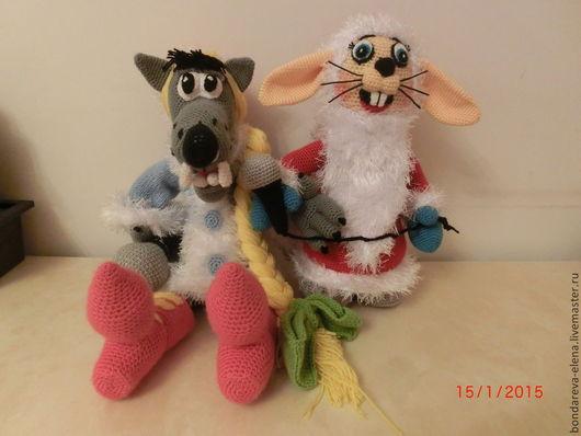 Игрушки животные, ручной работы. Ярмарка Мастеров - ручная работа. Купить Заяц и волк из Ну-погоди новогодние. Handmade. Волк