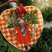 """Подарки к праздникам ручной работы. Ярмарка Мастеров - ручная работа Красное интерьерное сердечко"""" Новогоднее"""". Handmade."""