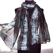 Аксессуары handmade. Livemaster - original item Copy of Copy of Blue brown scarves fabric silk 30% cotton  70%. Handmade.