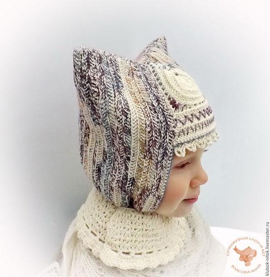 Вязаная шапка для девочки, детская теплая вязаная шапка, детская узорная шапка, шапка для девочки,  русский стиль, красивая вязаная шапка, детская шерстяная вязаная шапка, детская мериносовая шапка