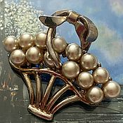 Винтаж handmade. Livemaster - original item Basket with flowers. A large brooch. 1940s.. Handmade.
