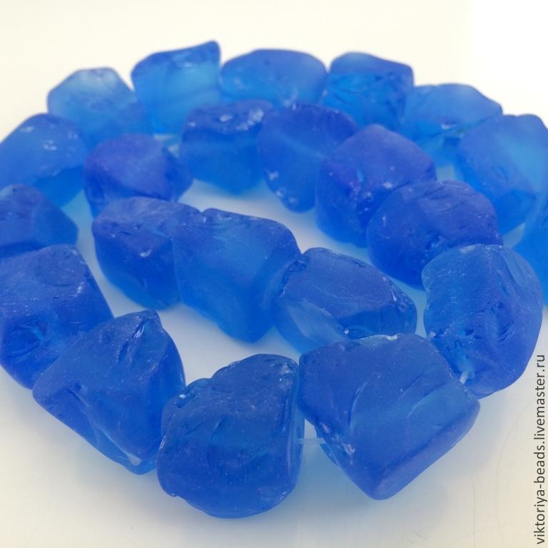 Аква кварц необработанный матовый бусины (синий), Бусины, Москва, Фото №1