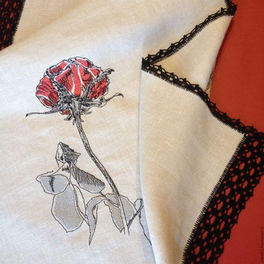 """Текстиль, ковры ручной работы. Ярмарка Мастеров - ручная работа. Купить Дорожка с вышивкой и ручным кружевом - """"Алая роза""""-. Handmade."""
