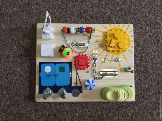 Развивающие игрушки ручной работы. Ярмарка Мастеров - ручная работа. Купить Бизиборд 40х50 см. с солнцем. Handmade. Комбинированный