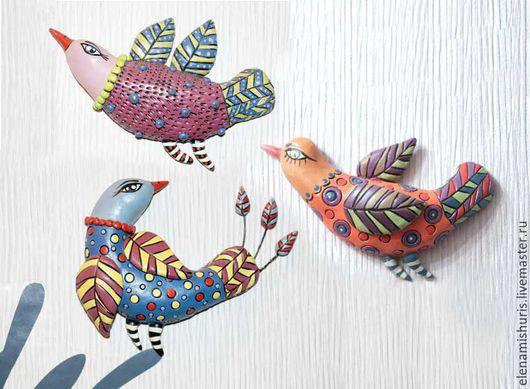 """Статуэтки ручной работы. Ярмарка Мастеров - ручная работа. Купить Панно """"Птички"""". Handmade. Комбинированный, птичка на ветке, интерьерное украшение"""