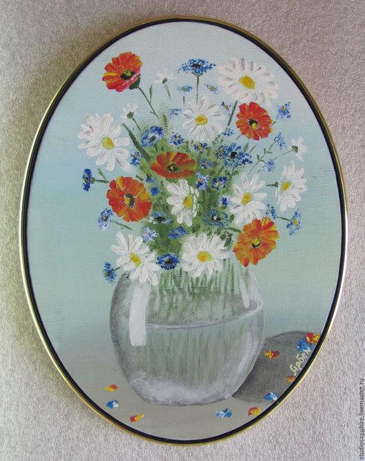 Картины цветов ручной работы. Ярмарка Мастеров - ручная работа. Купить Букет в стеклянной вазе. Handmade. Букет, овальная картина