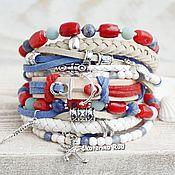 handmade. Livemaster - original item Leather bracelet with stones in the marine style