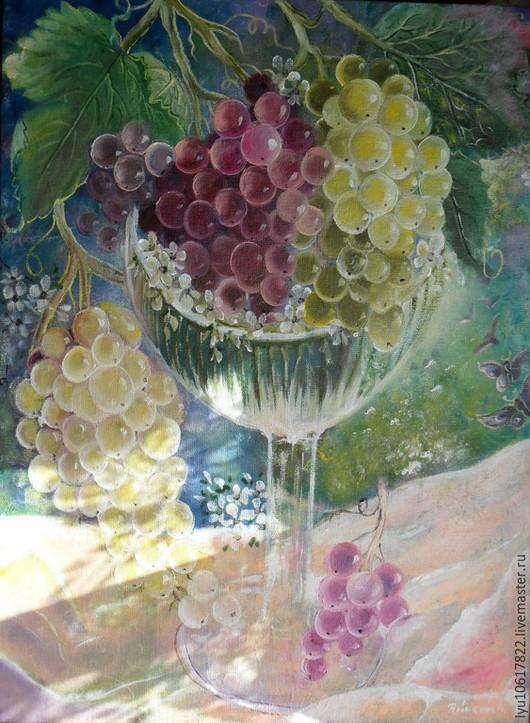 """Натюрморт ручной работы. Ярмарка Мастеров - ручная работа. Купить Картина """"Янтарный виноград"""" натюрморт,зелёный,жёлтый. Handmade. Зеленый"""