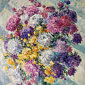 Картины и панно handmade. Livemaster - original item oil painting Asters. Autumn bouquet.. Handmade.