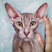 Картины и панно handmade. Livemaster - original item Oil painting Portrait of Oriental cat. Handmade.