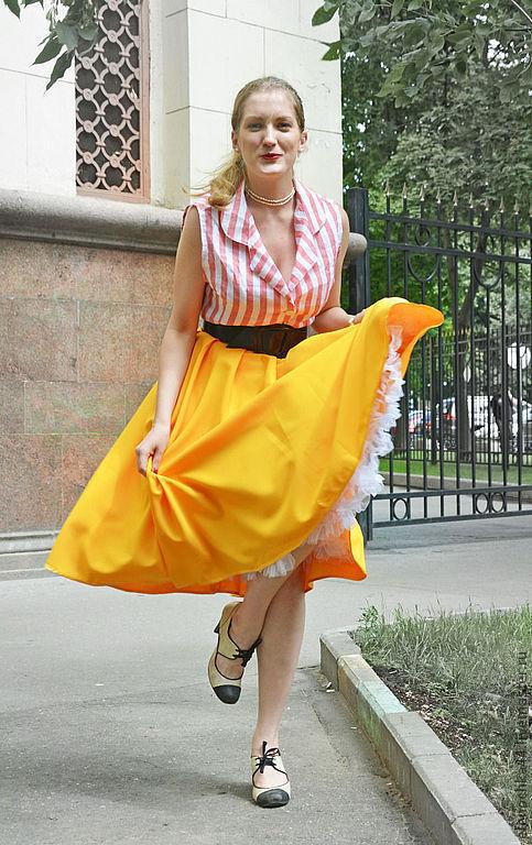 """Юбки ручной работы. Ярмарка Мастеров - ручная работа. Купить Юбка пин-ап """"Витаминка"""". Handmade. Желтый, юбка"""