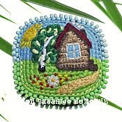 Украшения handmade. Livemaster - original item Brooch knit Hut. Handmade.