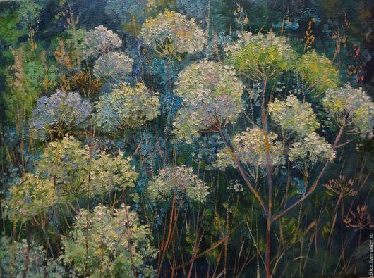 """Пейзаж ручной работы. Ярмарка Мастеров - ручная работа. Купить Картина """"Красота лета"""". Handmade. Голубой, лето, цветы"""