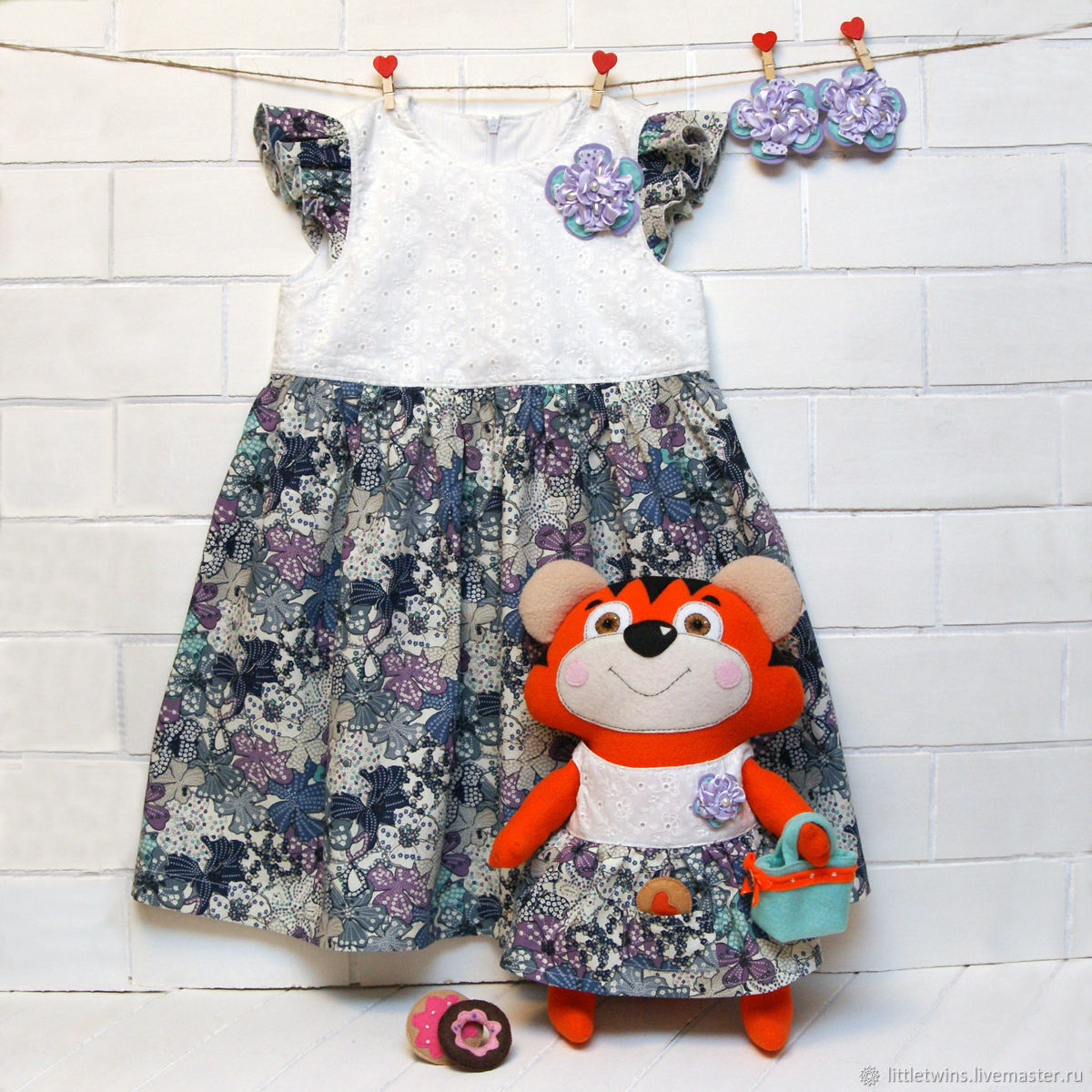 Summer dress for girl and toy tiger cub, Childrens Dress, St. Petersburg,  Фото №1