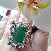 Украшения handmade. Livemaster - original item Ring Smaragd. Emerald, diamonds, gold 585. Handmade.