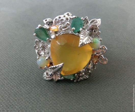 """Кольца ручной работы. Ярмарка Мастеров - ручная работа. Купить 16,5 р-р кольцо """"Желтый опал"""" сапфир, изумруд золото серебро 925. Handmade."""