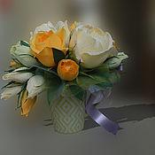 Цветы и флористика ручной работы. Ярмарка Мастеров - ручная работа Букет из конфет в кружке. Handmade.