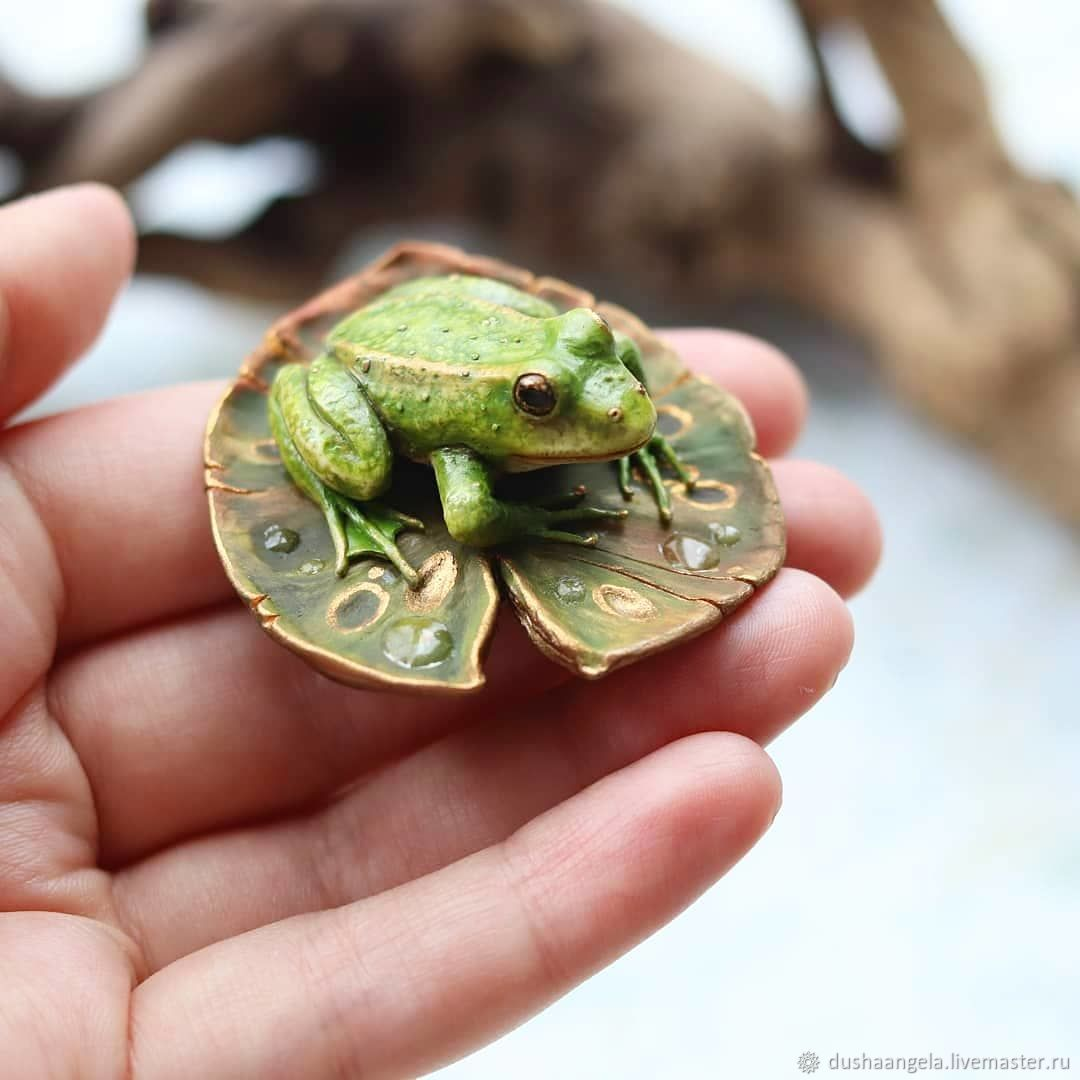 Brooch 'Rana' sculpture, miniature, frog, Brooches, Vladimir,  Фото №1
