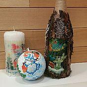 """Бутылки ручной работы. Ярмарка Мастеров - ручная работа декор (украшение)бутылок """"Чудеса Нового Года"""". Handmade."""