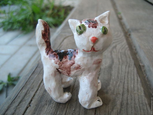 """Статуэтки ручной работы. Ярмарка Мастеров - ручная работа. Купить Статуэтка """"Кот пятнистый"""" керамическая. Handmade. Кот, природная глина"""