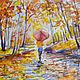 """Пейзаж ручной работы. Ярмарка Мастеров - ручная работа. Купить картина акварелью """"Осенний дождь"""". Handmade. Осень, дождь, листва"""