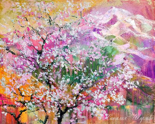 Пейзаж ручной работы. Ярмарка Мастеров - ручная работа. Купить Цветение сакуры на горе Doi Suthep. Handmade. Сиреневый